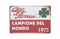 Tin Sign Alfa Romeo Campione del Mondo 1975