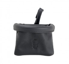 Leather Pochette `Biscione Nero