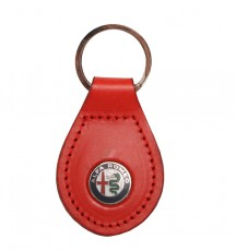 Leather Keyring With Alfa Marchio - Red