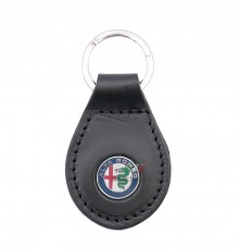 Leather Keyring With Alfa Marchio - Black