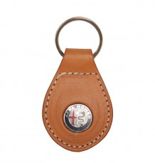 Leather Keyring With Alfa Marchio - Cuoio